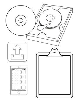 Computer Lab Tech Lab Clipart Printable and Digital Blackline Clip Art