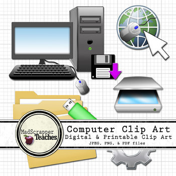 Computer Lab Tech Lab Clipart Printable and Digital Color Clip Art