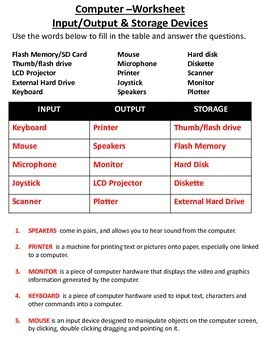 Computer Input & Output Devices Worksheet