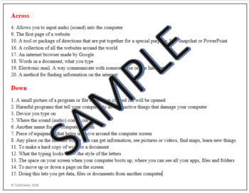 Computer & Internet Terms Crossword Puzzle Activity Worksheet