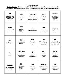Computer Keyboard Bingo