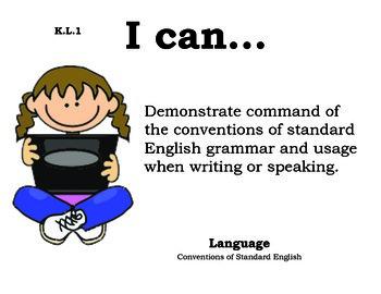 Computer Kids Kindergarten English Common core standards posters