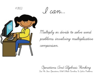 Computer Kids Theme 4th grade math Common Core Posters fourth Grade Standards