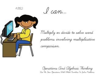 Computer Kids Theme 4th grade math Common Core Posters fourth Grade Standards