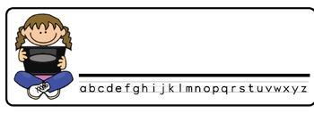 Computer-Kids Theme Desk Nameplates (Set of Four)