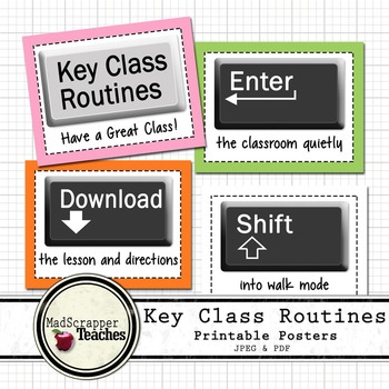 Computer Lab Class Routines Posters Key Routines Printable Posters
