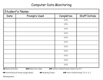 Computer Lab Data Sheet