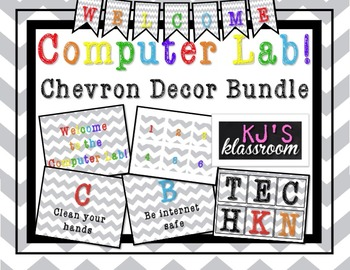 Computer Lab Decor Bundle - Chevron