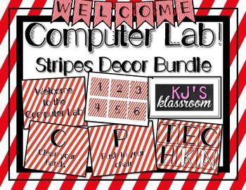 Computer Lab Decor Bundle - Stripes