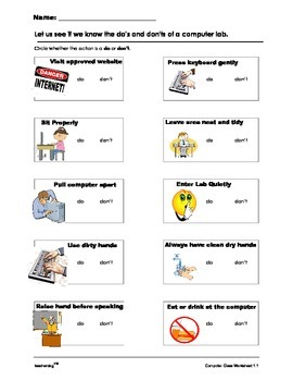 Computer Lab Do's and Don'ts Activity Sheet