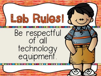 Computer Lab Editable Rules And Expectations PowerPoint Posters