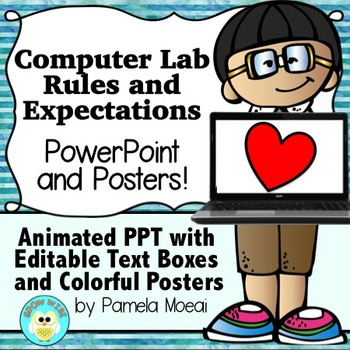 Computer Lab Editable Rules and Expectations PowerPoint an