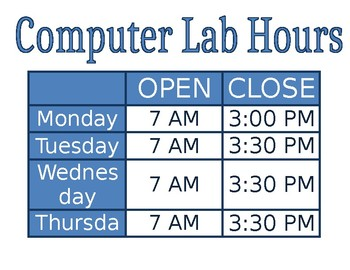 Computer Lab Hours Template