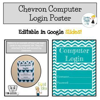 Computer Lab Login Info & Computer Numbers Chevron - Editable in Google Slides!
