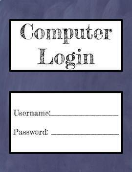 Computer Lab Login Info & Computer Numbers Purple - Editable in Google Slides!