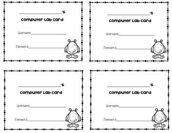 Computer Lab Password Cards