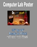 "Computer Lab Poster. No food or drink in the computer lab 36"" by 24"""