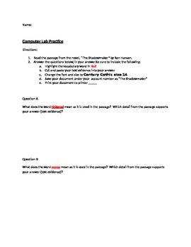 Computer Lab Practice - PARCC Practice - Comprehension Questions