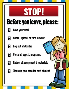 Computer Lab Reminders Poster (Before You Leave)