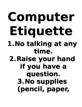 Computer Lab Rules