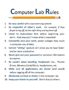 Computer Lab Rules By CeeGees