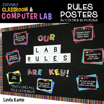 Computer Lab Rules Editable Posters & Bulletin Board Display
