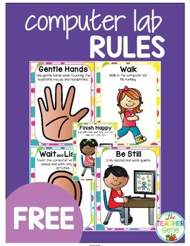 Computer Lab Rules {Freebie} by The Teacher Gene | TpT