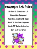 Computer Lab Rules Poster