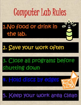 Computer Lab Rules Printable Poster