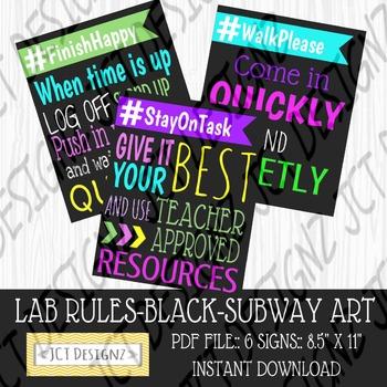 BLACK:  Lab Rules, Subway Art, Technology Rules, Subway Art, Subway Art Rules