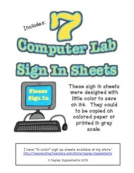 Computer Lab Sign In Sheets