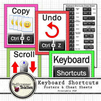 Computer Lab Tech Lab Keyboard Shortcuts Posters and Cheat Sheets