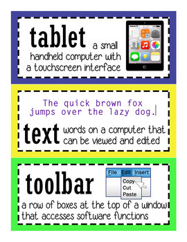 Computer Lab Tech Lab Printable Word Wall