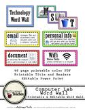 Computer Lab Tech Lab Printable Word Wall