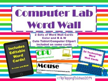 Computer Lab Technology Editable Word Wall Cards