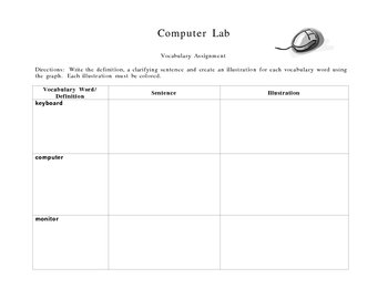 Computer Lab Vocabulary Boxes