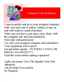 Computer Lab guidelines poster