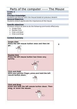 Computer Lesson Plan- Mouse Action