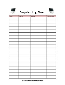 Computer Log Sheet and Stop Sign