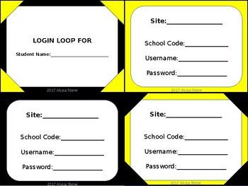 Computer Login Card Loops - Bee Theme Colors