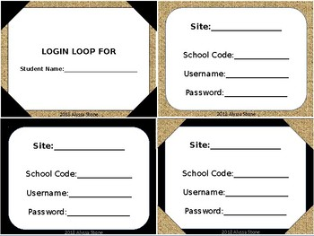 Computer Login Card Loops - Burlap