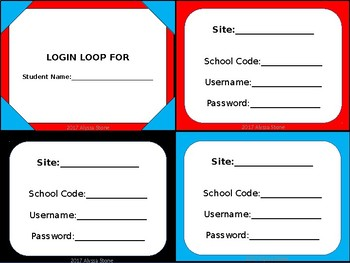 Computer Login Card Loops - Dr. Seuss Tribute Colors