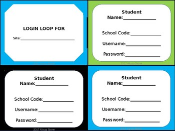 Computer Login Card Loops - Lime & Teal - {Expanded}
