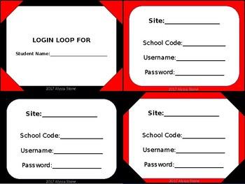Computer Login Card Loops - Red & Black