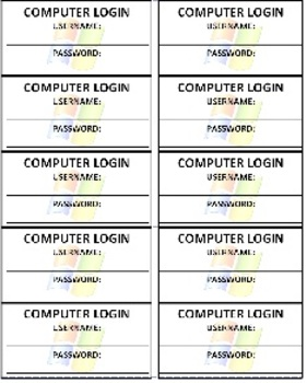 Computer Login Cards