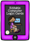 Computer Login Cards Editable Back to School