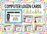 Computer Login Cards {Editable}