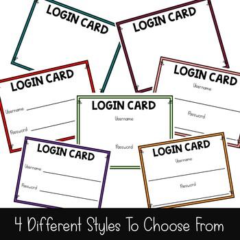 Computer Login Cards Editable