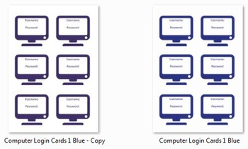 Computer Login Cards for Students! Templates and Forms