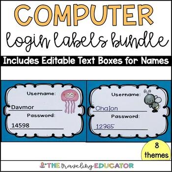 Computer Login Labels and Cards (Bundle)